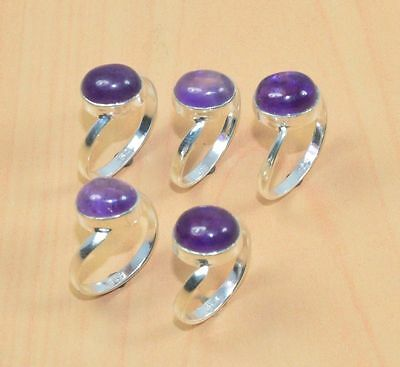 Wholesale 5Pc 925 Solid Sterling Silver Natural Purple Amethyst Ring Lot