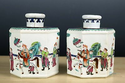 Beautiful Fine Chinese A pair Famille Rose porcelain Tea cans