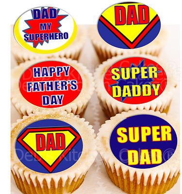 Fathers Day  Cupcake Toppers - Edible Wafer - 4cm x 24 - Super Dad