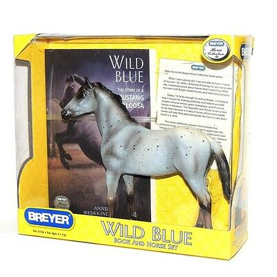 Breyer WILD BLUE Horse and Book Set Model Mustang Appaloosa Horse & 128 Pg Book
