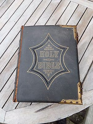 Antique leather illustrated family bible.No entries. Gilded edge brass corner
