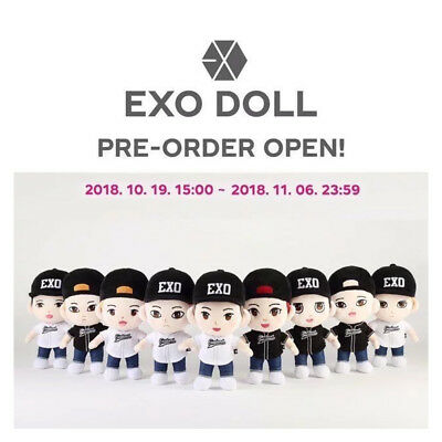 EXO OFFICIAL PLUSH DOLL + GIFT[ Transparent card ]  + Free Tracking No.