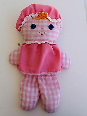 PRICE DROP $2 - Fisher Price Lolly Dolly #420 Pink Gingham Doll Baby Rattle 1975