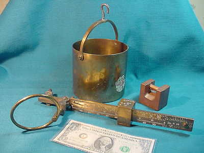 Vintage ALL BRASS Fairbanks Hanging GRAIN SCALE & PAIL & Calibration WEIGHT
