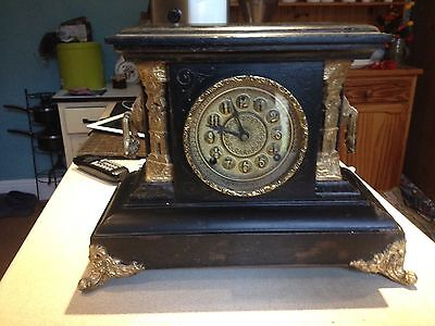 Antique Large Ornate Mantel Clock With Key,by Welch, Connecticut