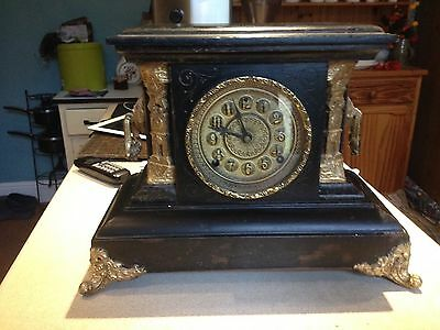 Antique Large Ornate Mantel. Pendulum Clock With Key,by Welch, Connecticut