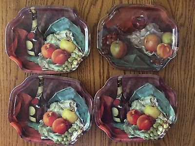 "Set of 4 ELITE TRAYS Metal 7 1/2"" x 6"" Wine/Fruit Design MADE IN ENGLAND"