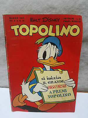 TOPOLINO N. 27 vol 5 MAY 1951 excellent + sticker Walt Disney Mickey Mouse