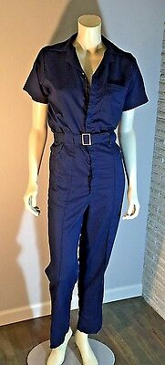 vtg rockabilly Women's 1960's COVERALLS JUMPSUIT WORKWEAR Wide Leg Navy VLV S