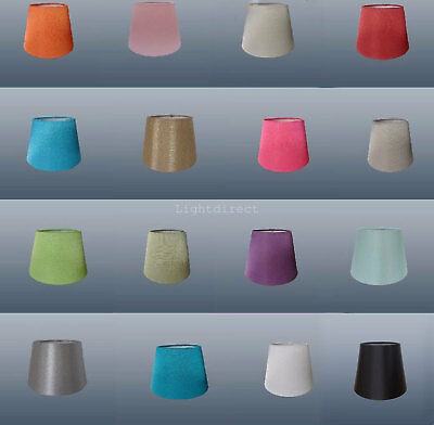 """6"""" CLIP ON Bulb Silk Look Fabric Lampshade Ceiling Table Wall  Many Colours"""
