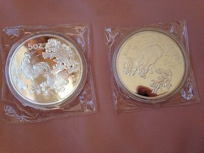 Two Chinese 70 mm, 5 oz silver plated mint 1993, 1995, zodiac coins souvenir