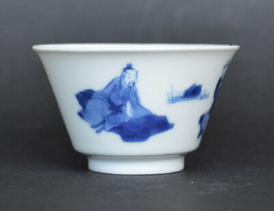Chinese Kangxi Period Blue And White Porcelain Wine Cup Figures Qing