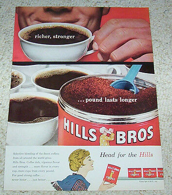 1959 vintage ad - Hills Bros red can Coffee PRINT ADVERT advertising page