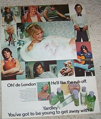 1971 vintage ad - Yardley Oh de London cosmetics GIRL bath Print Magazine Page