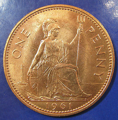1961 1d Elizabeth II Penny - Brilliant Uncirculated