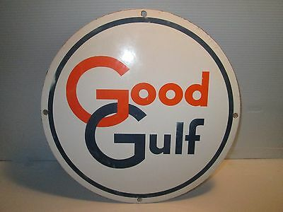 "Gulf Oil 10 1/2"" Round Good Gulf Porcelain Gas Pump Sign Original"