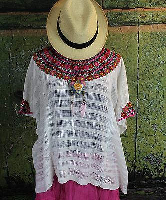 White & Pink Hand Embroidered Huipil Coban Guatemala Hippie Boho Beach Cover
