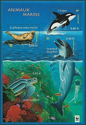 2002 France Bloc N°48**  Neuf Luxe Animaux Marins / Phoque Dauphin Tortue