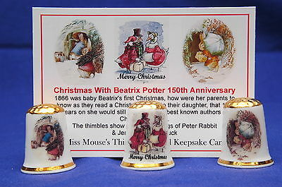 Christmas With Beatrix Potter 150th Anniversary Box Set of 3 Thimbles+ Card