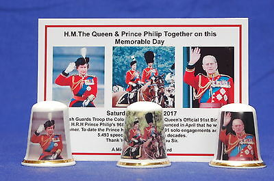 Queen & Prince Philip Together Memorable Day Box Set of 3 Thimbles+ Card B/137