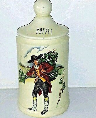 """Vintage French Apothecary 9"""" Porcelain Coffee Jar Signed 1952"""