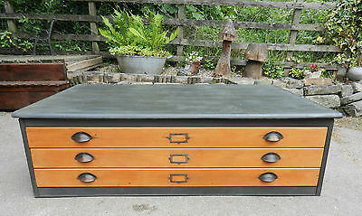 Vintage 3 Drawer Plan Chest - Painted Charcoal Grey - Good Condition
