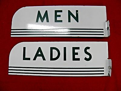 Vintage 1940's Porcelain Texaco Restroom Signs Mens Ladies Flange Real Signs