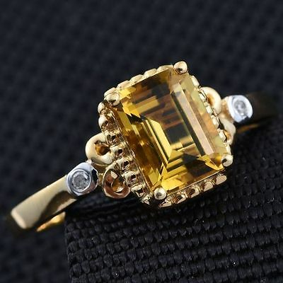 Very Rare 1.25Ct Marialite & Diamond 14K Y Gold/925 Ring Size N