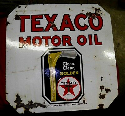 "Vintage Sign Texaco Motor Oil Double Sided Porcelain 30x30"" Original AUTHENTIC!"