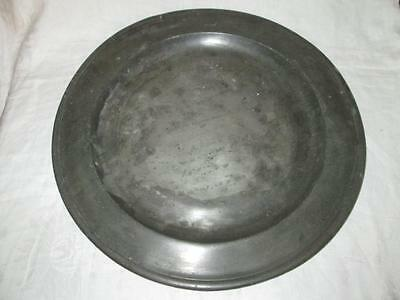"Antique Scottish Pewter Charger Single-Reeded Edge 15"" Diameter"