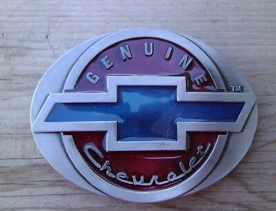 Chevrolet Belt Buckle Pewter With Blue / Red Enamel NEW Chevy
