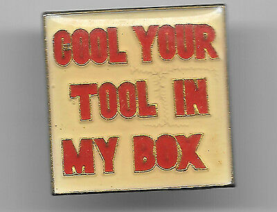 Vintage COOL YOUR TOOL IN MY BOX old enamel pin