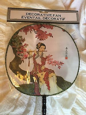 GEISHA Summer Fancy Decorative Round Hand Fan- Costume Accessory - New