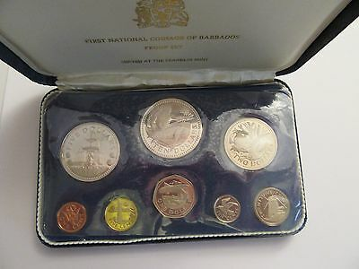 1973 Barbados 8 Coin Proof Set, Mint Package, 3 Silver Coins