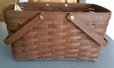 Longaberger Medium Market Basket in rich brown stain & protector NEW in hand