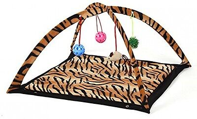 Cat Activity Play Mat Pet Kitten Padded Bed Cat Play Center With Hanging Toy