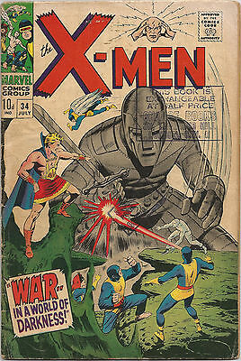 Uncanny X-Men #34. Vol1. Marvel Jul 1967.Thomas Adkins. GD+ Pence