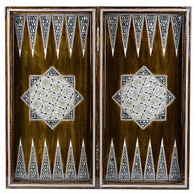 "HM Egyptian Inlaid Mother Of Pearl Backgammon / Chess Board 20"" by NileCart"