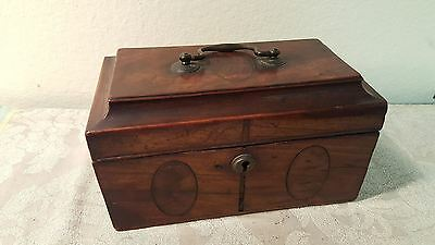 English Georgian wooden triple tea Caddy box with marquetry