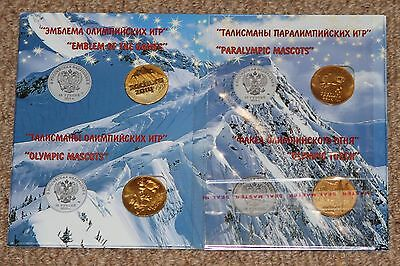 Sochi olympic Russian coin set  x4 gold plated coins in album different years