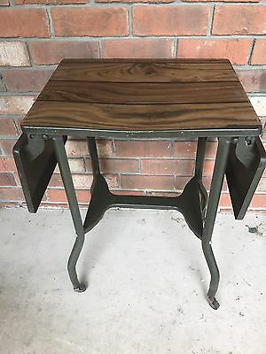 Vintage Mid Century Typewriter Table Stand Typing Table w/2 Side Leaves OD Green