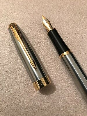 Baoer 388 Steel Flighter Gold Trim Medium Nib Fountain Pen-Converter-Uk Seller