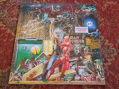 """Iron Maiden Bring your daughter to the slaughter 12"""" vinyl+banner calendar RARE"""