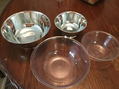 """Vintage Silverplate Oneida Paul Revere Reproduction 8"""" & 6"""" Footed Serving Bowls"""