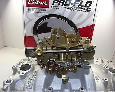 HOLLEY 600 cfm & EDELBROCK 2701 manifold package suit sbc chev 350 327 400 carby