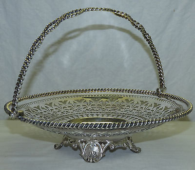 Antique Silver Plated Footed Basket Bowl Reticulated Swinging Handle w Hallmarks