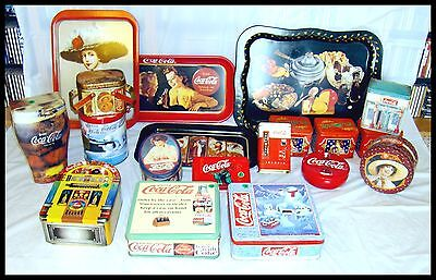 Total Of 19 Coca Cola Tins And Trays. Estate Find
