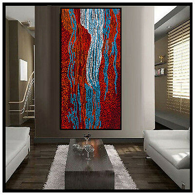Huge 1200mm by 600mm Aboriginal style abstract dot painting by Anna Narnina