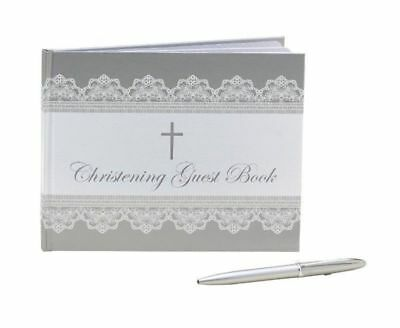 """""""New""""GUEST BOOK WITH PEN ME CHRISTENING FOIL(EACH)-Free Shipping"""