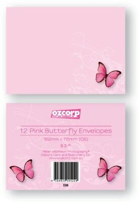 """New""ENVELOPE OZCORP C6 PINK BUTTERFLY PK12(EACH)-Free Shipping"
